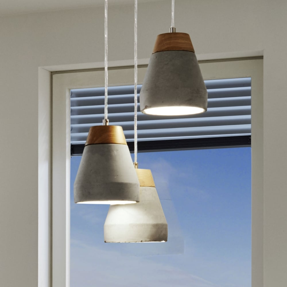 in concrete lighting. Perfect Concrete Tarega Concrete And Wood Triple Pendant Light On In Lighting H
