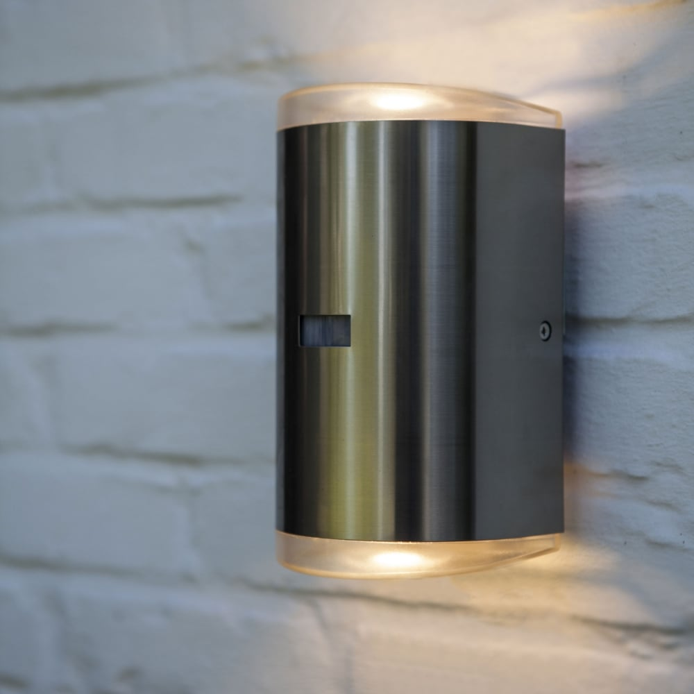 up down lights commercial path pir 16w exterior led up and down wall light in stainless steel lutec
